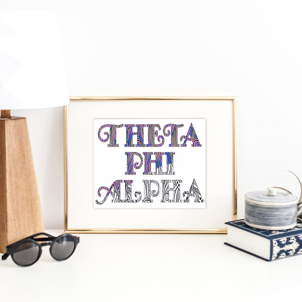 Theta Phi Alpha Fancy Name Coloring Poster-Craft and Color Co