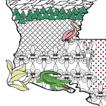 Louisiana Art Map Coloring Poster
