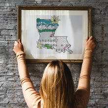 Louisiana Art Map Coloring Poster-Craft and Color Co