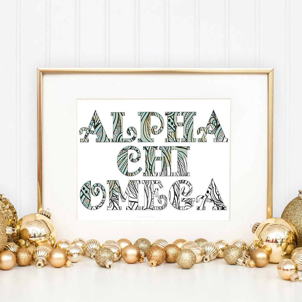 Alpha Chi Omega Fancy Name Coloring Poster-Craft and Color Co