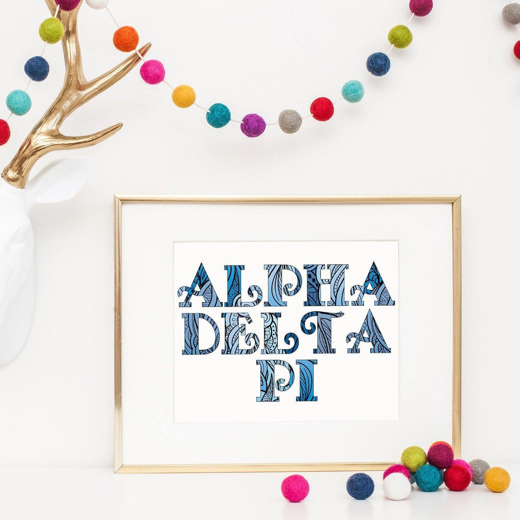 Alpha Delta Pi Fancy Name Coloring Poster-Craft and Color Co