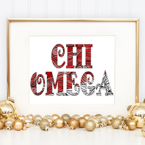Chi Omega CHI O Fancy Name Coloring Poster-Craft and Color Co