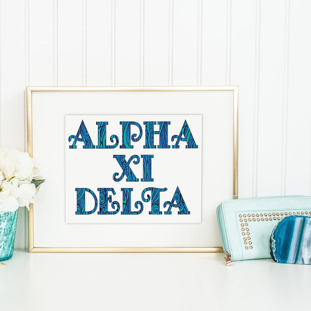 Alpha Xi Delta Fancy Name Coloring Poster-Craft and Color Co