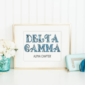 Delta Gamma Fancy Name Coloring Poster Print-Craft and Color Co