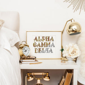 Alpha Gamma Delta Fancy Name Coloring Poster Print