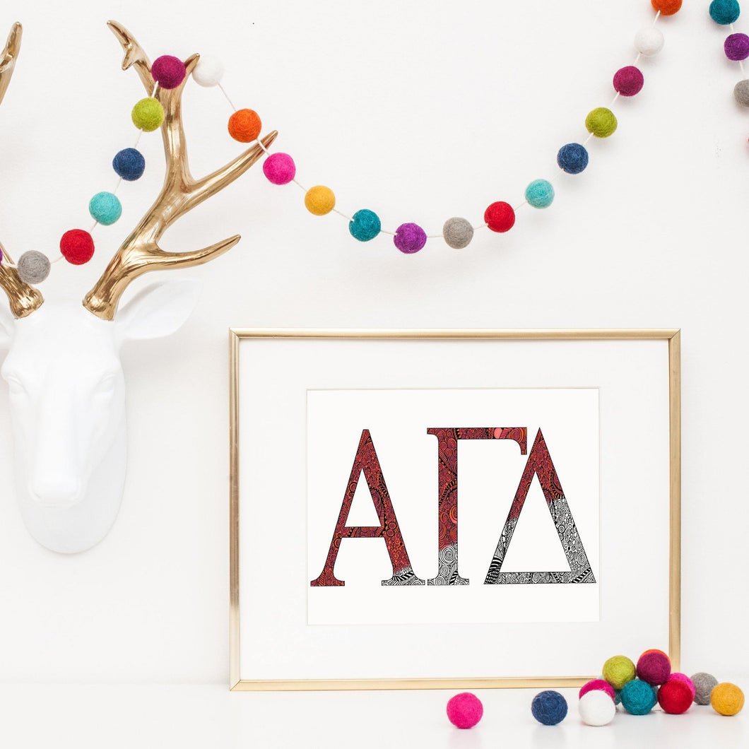 Alpha Gamma Delta Greek Letter Coloring Poster Print-Craft and Color Co