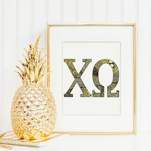 Chi Omega CHI O Greek Letter Adult Coloring Poster-Craft and Color Co