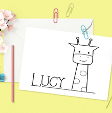 Personalized Children's Coloring Note Cards