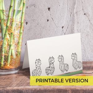 Llama Alpaca Coloring Note Cards Instant Download-Craft and Color Co
