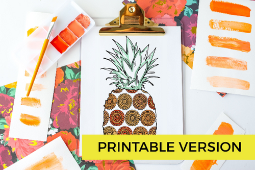 Summer Boho Pineapple Coloring Page Activity for Adults and Kids | Instant Download Printable-Craft and Color Co