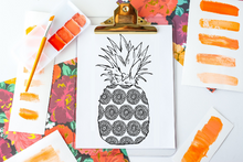 Summer Boho Pineapple Coloring Page Poster Activity for Adults and Kids