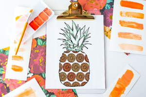 Summer Boho Pineapple Coloring Page Poster Activity for Adults and Kids-Craft and Color Co
