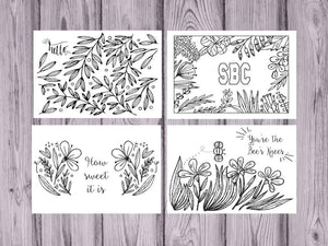 Sweet Briar Coloring Note Cards-Craft and Color Co