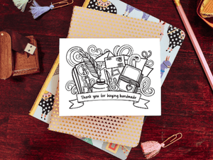 """Thank You for Buying Handmade"" Artist Design Note Card"