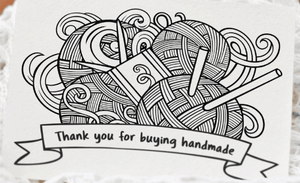 """Thank You for Buying Handmade"" Yarn Design Note Card"