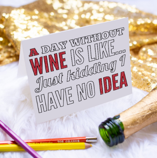 Funny Wine Lover Greeting Card-Craft and Color Co