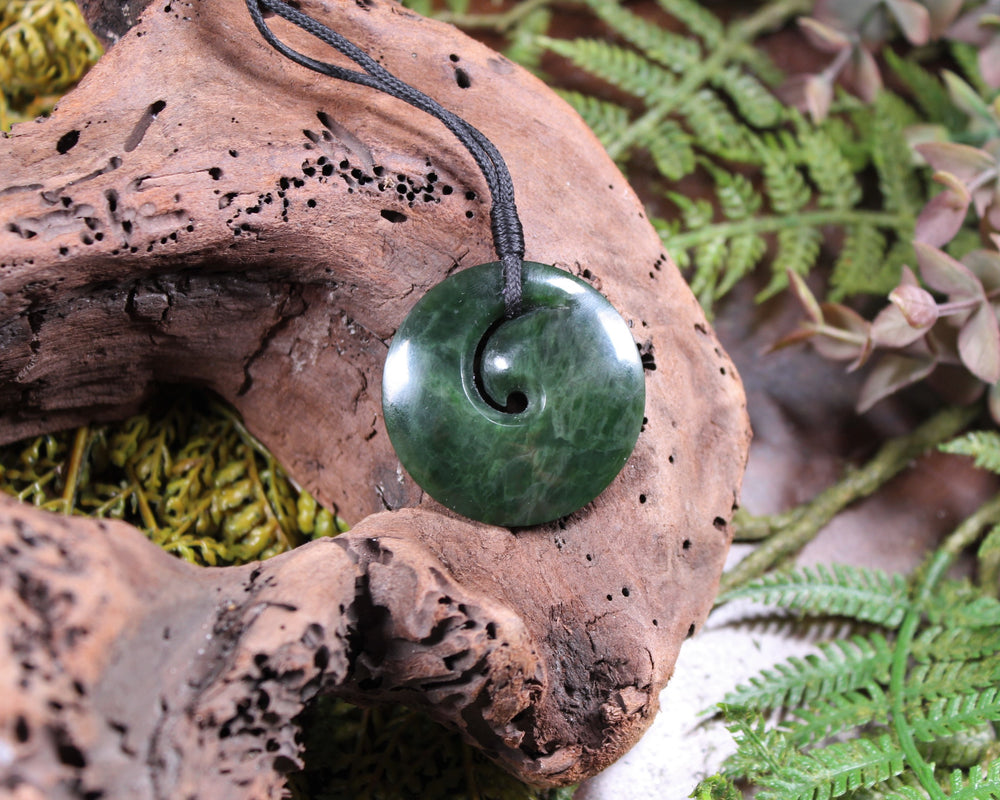 Roimata with Koru Pendant carved from Flower Jade Pounamu - NZ Greenstone