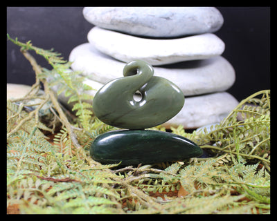 Twist Sculpture carved from Inanga Pounamu - NZ Greenstone