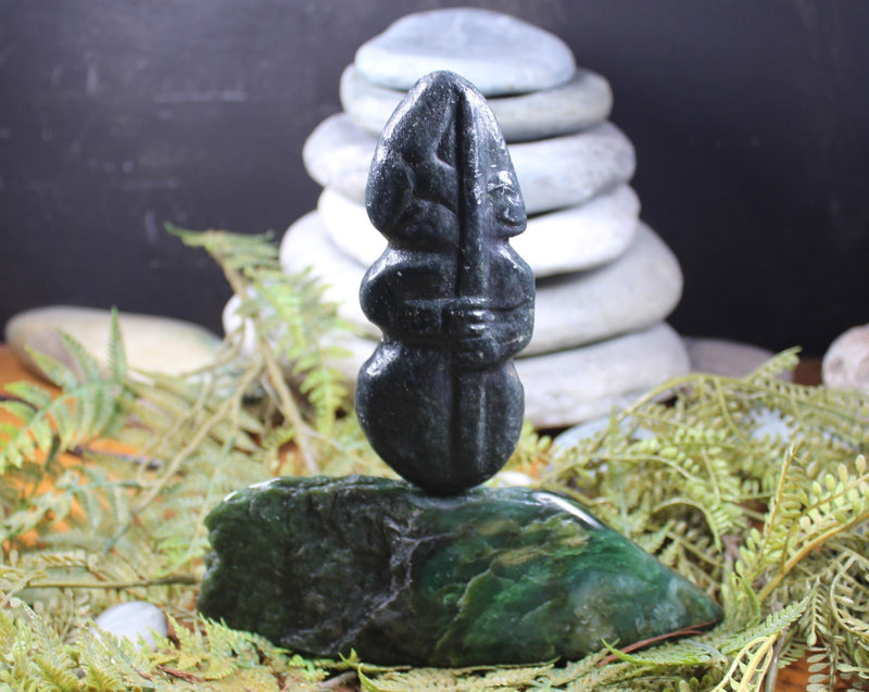 Hei Tiki Sculpture carved from NZ Serpentine Pounamu - NZ Greenstone