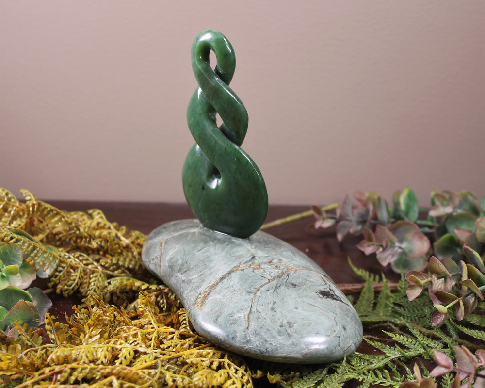 Toki or Adze Pendant carved from Flower Jade Pounamu - NZ Greenstone