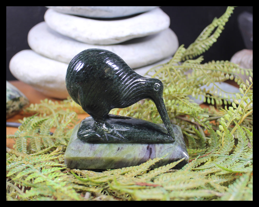 Kiwi Bird Sculpture carved from Hapopo Pounamu - NZ Greenstone