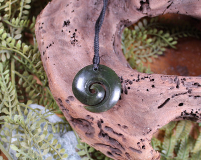 Koru or Spiral carved from Rimu Pounamu - NZ Greenstone