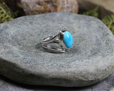 Sterling Silver Ring carved from Kingman Mine Turquoise