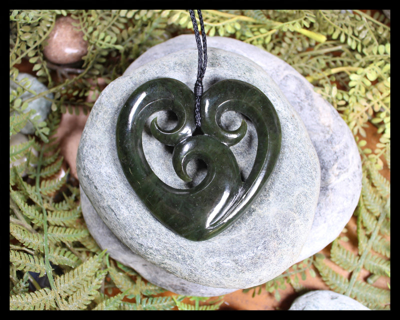 Koru Heart carved from Rimu Pounamu - NZ Greenstone