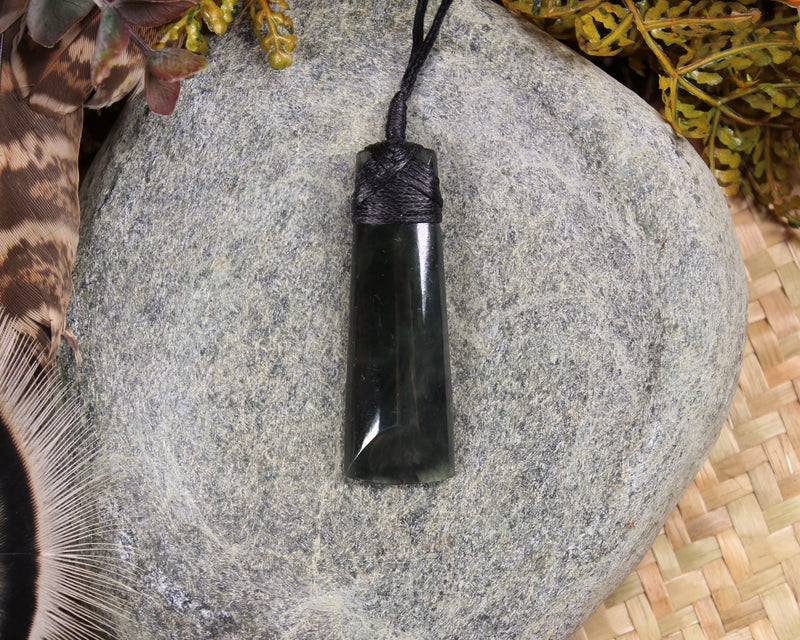 Hei Matau or Fish Hook carved from Rimu Pounamu - NZ Greenstone