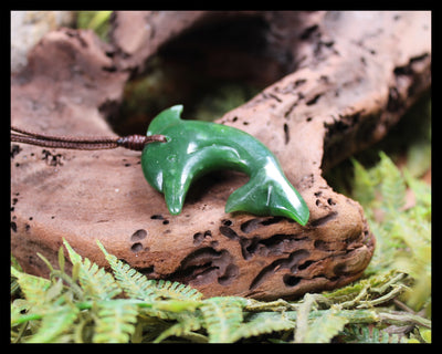 Sterling Silver Greenstone Hei Matau or Fish Hook Pendant carved from Hapopo Pounamu - NZ Greenstone