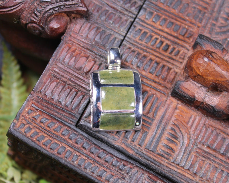 Sterling Silver Greenstone Pendant carved from Hapopo Pounamu - NZ Greenstone