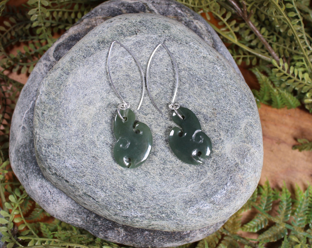 Koru Earrings carved from Inanga Pounamu - NZ Greenstone