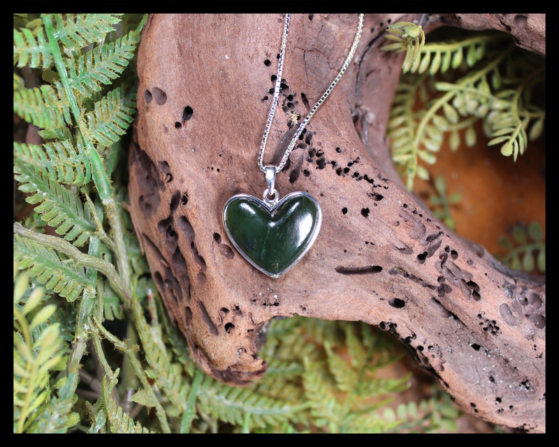 Sterling Silver Greenstone Heart Pendant carved from Kawakawa Pounamu - NZ Greenstone