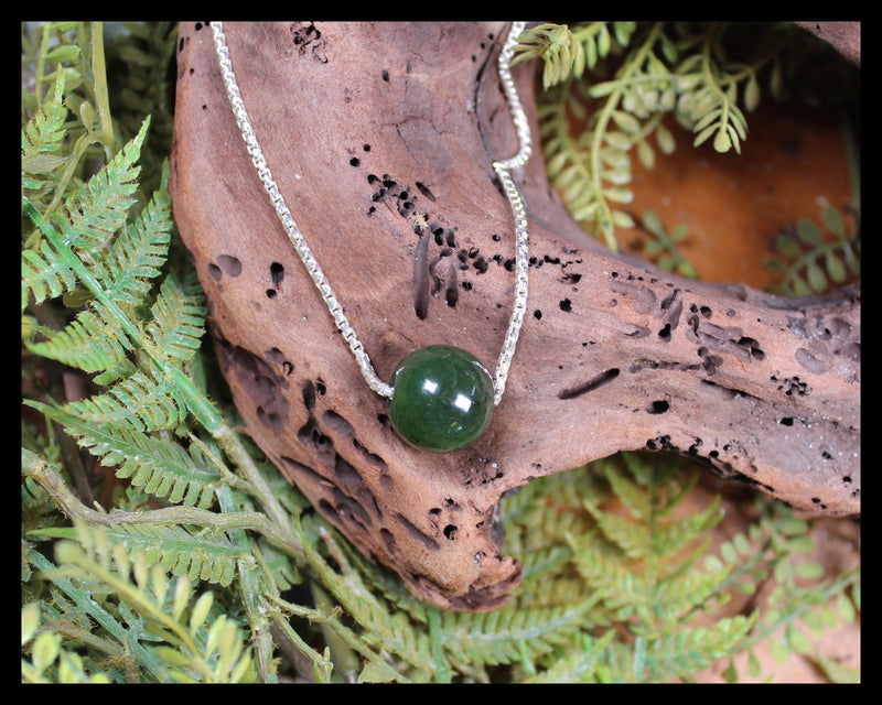 Sterling Silver Greenstone Bead Pendant carved from Kawakawa Pounamu - NZ Greenstone
