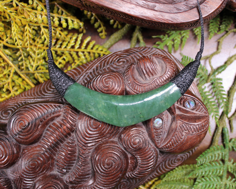Hei Tiki carved from Flower Jade Pounamu - NZ Greenstone