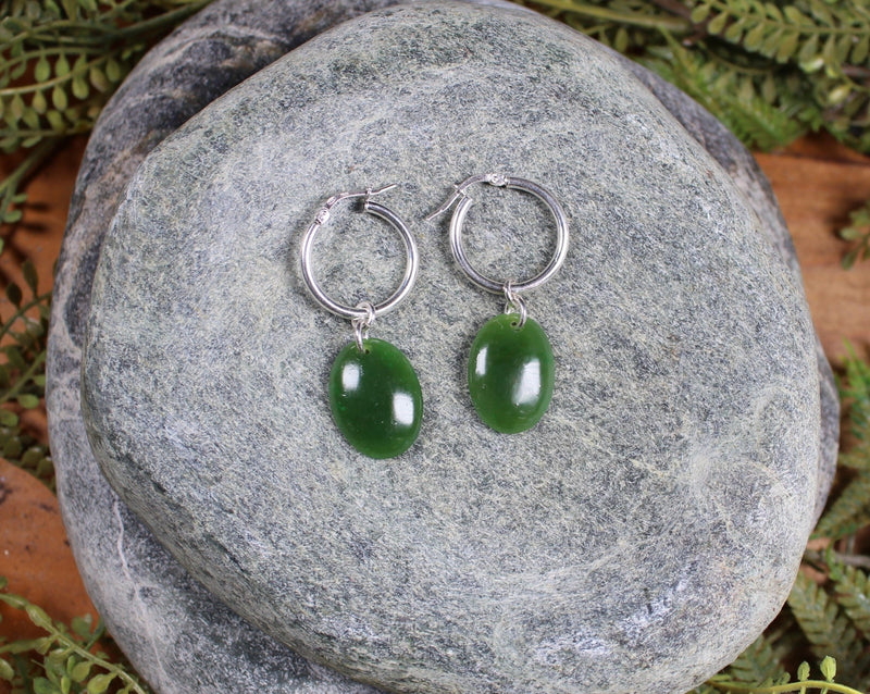 Earrings carved from Kawakawa Pounamu - NZ Greenstone