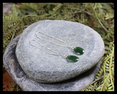 Threaded Styled Porowhita Earrings carved from Kawakawa Pounamu - NZ Greenstone