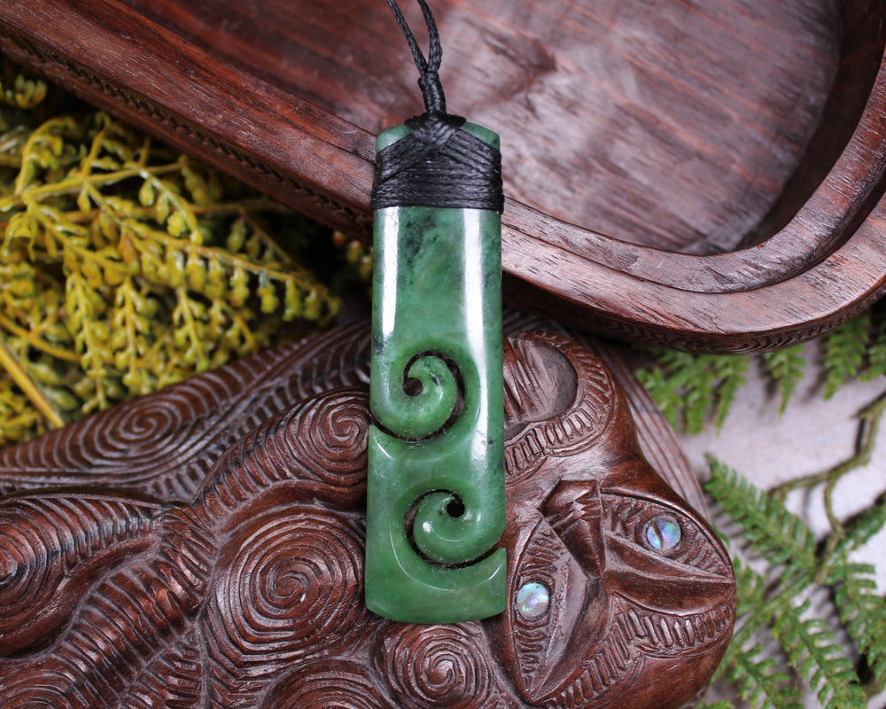 NZ Fern Leaf Pendant carved from Inanga Pounamu - NZ Greenstone