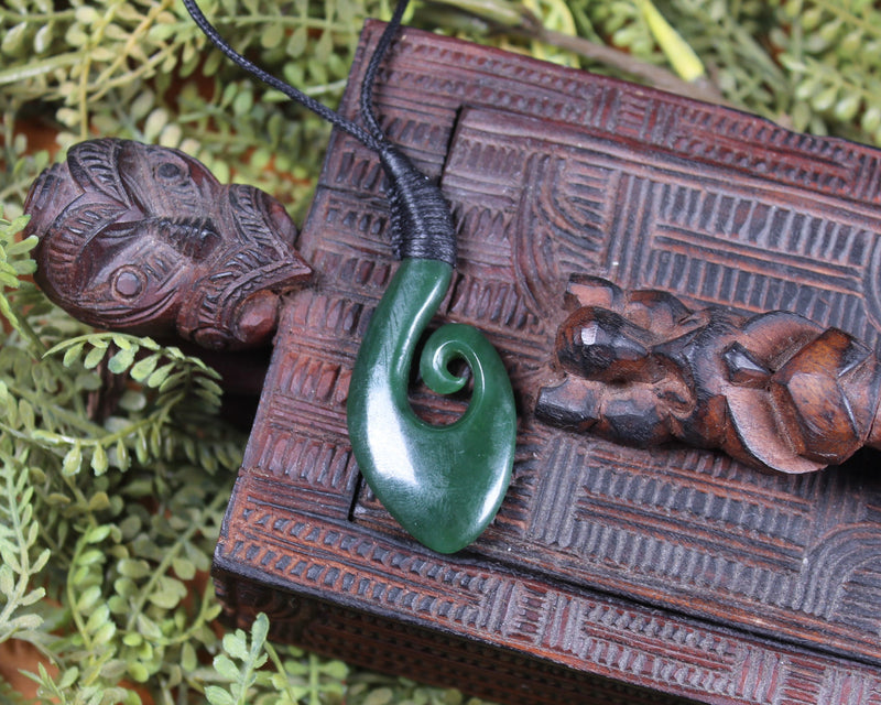 Manaia carved from Flower Jade Pounamu - NZ Greenstone