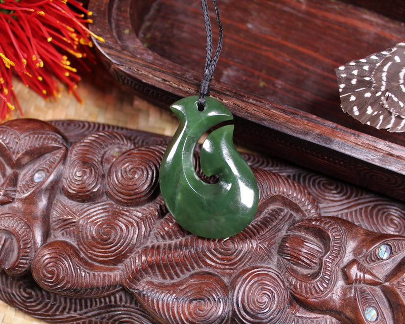 Koru Heart carved from Flower Jade Pounamu - NZ Greenstone