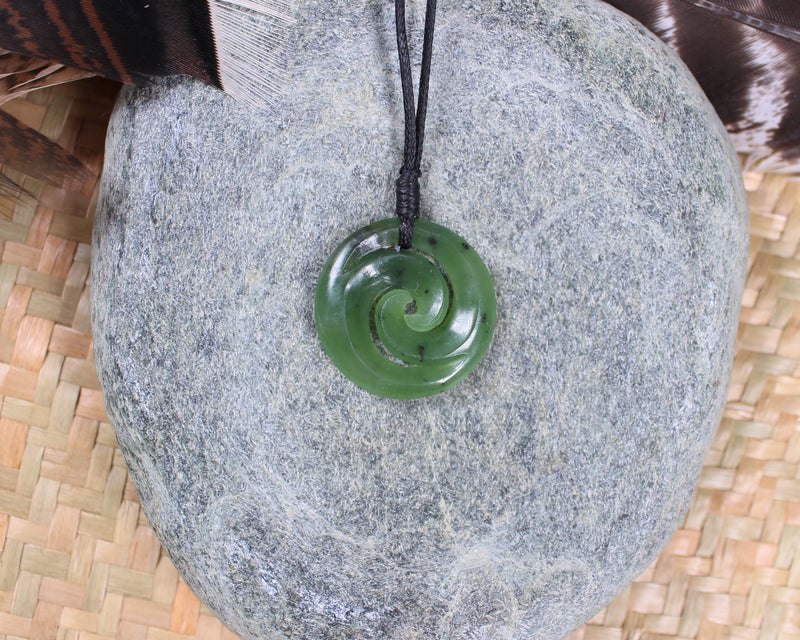 New Zealand Greenstone Toki with Koru Pendant