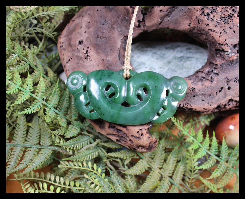 Pekapeka Pendant carved from Hapopo Pounamu - NZ Greenstone