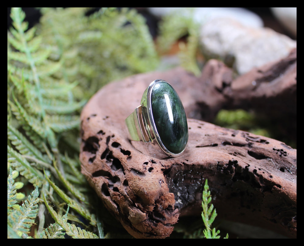 Sterling Silver Kawakawa Pounamu Ring - NZ Greenstone
