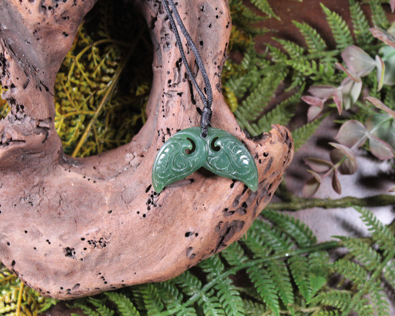 Hei Matau or Fish Hook carved from Flower Jade Pounamu - NZ Greenstone