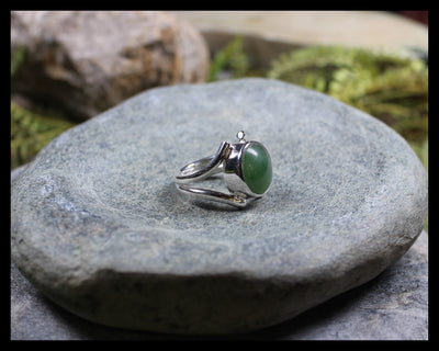 Sterling Silver Greenstone Ring carved from Hapopo Pounamu - NZ Greenstone