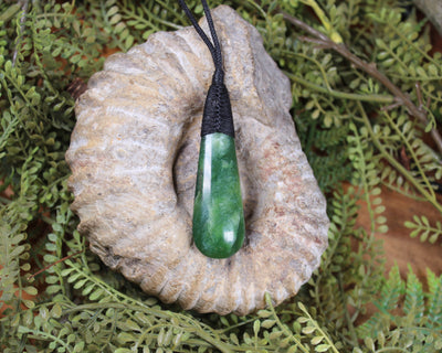 Porowhita or Pi Stone carved from Rimu Pounamu - NZ Greenstone