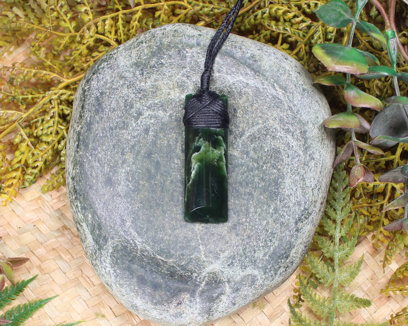 Hei Matau or Fish Hook carved from Inanga Pounamu - NZ Greenstone