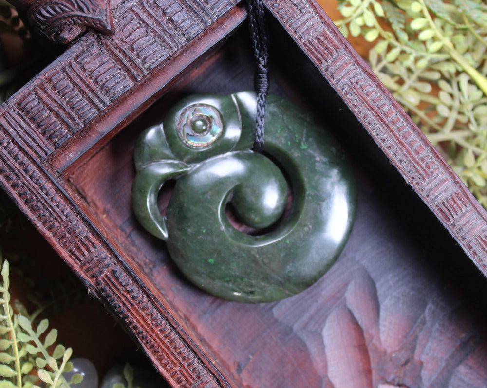 Koropepe carved from Rimu Pounamu - NZ Greenstone