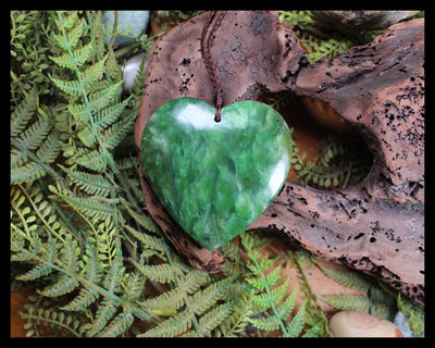 Heart carved from Hapopo Pounamu - NZ Greenstone