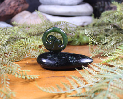 Koru or Spiral Sculpture carved from Kawakawa Pounamu - NZ Greenstone